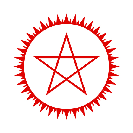 Pentagram icon. Red five-pointed star in the circle of fire. Vector illustration. Illustration