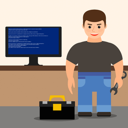 computer repairing: computer repair. young male technician repairing computer. vector illustration.