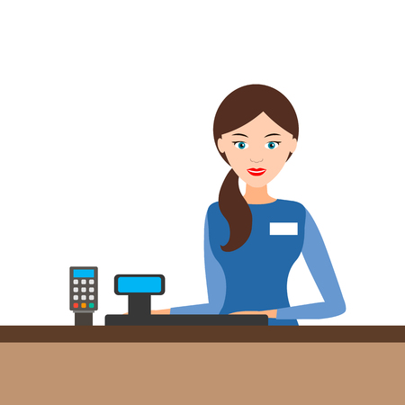 Young cashier girl behind the cash register in the store. vector illustration.