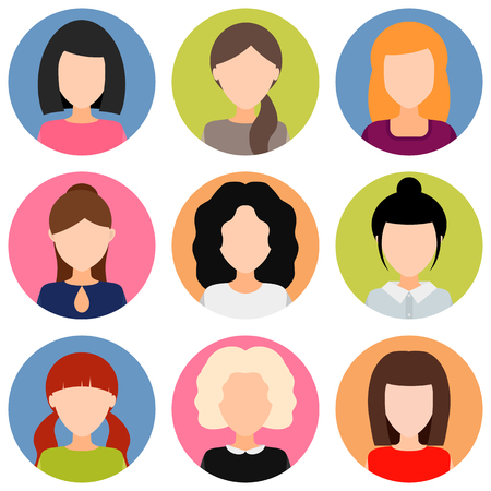 round avatar girls with different hairstyles without a face. photos of young women. vector illustration.