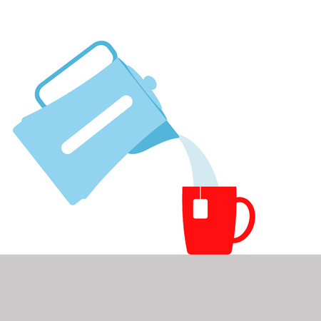 vector illustration. the boiling water pouring from the electric kettle into the Cup. brewing tea or coffee. a hot beverage. Imagens - 78685938