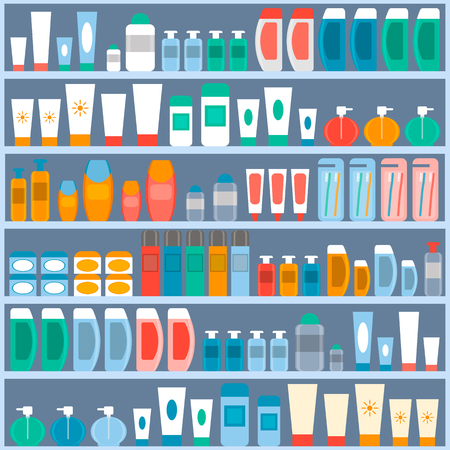 rack with the goods in the store cosmetics, hygiene and personal care. vector illustration. flat style. Illustration