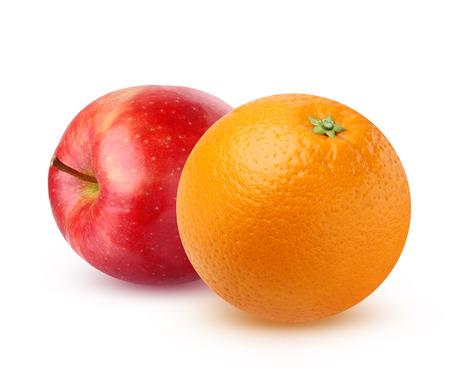 오렌지와 레드 애플 그림자와 흰 배경에 고립. 스톡 콘텐츠