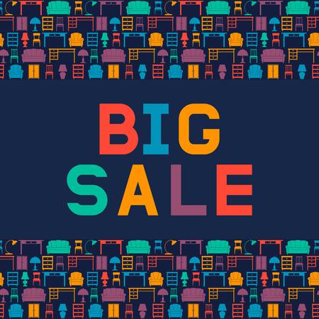 Big sale of furniture. Design a flyer or banner for shop interiors. Vector illustration. Flat style.