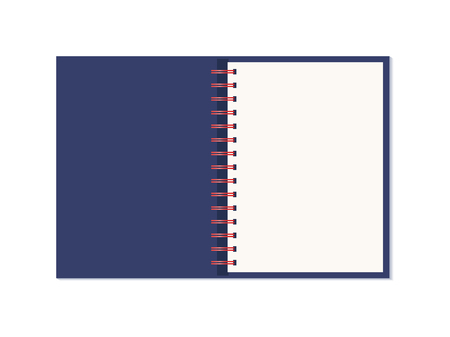 Vector realistic opened notebook. Vertical blank copybook with metallic spiral. Template (mock up) of organizer or diary isolated. The view from the top.