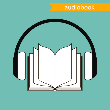 het audioboek-pictogram. vectorillustratie Stock Illustratie