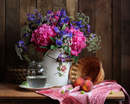 Rural Still Life With A Bouquet Of Flowers And Fruit Peonies Irises In