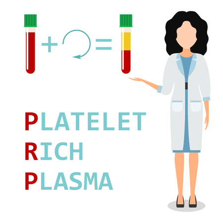 Platelet rich plasma. Nurse or woman doctor explains the generation modern method of treatment of PRP. Test tube with blood and centrifuge. Vector illustration.  Çizim