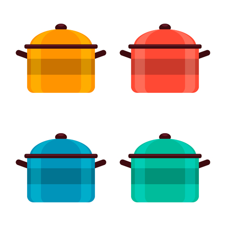 Set of colored enameled pots on white background, vector illustration.