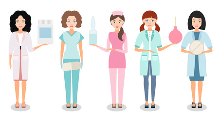 Medical workers isolated on a white background. Smiling doctors and nurses in uniform with medication in hand for projects in the field of health. Vector illustration.