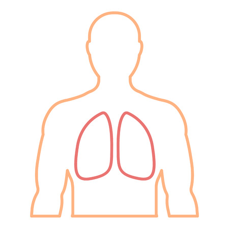 Mens contour with the designation of healthy lungs. Linear icon. Medicine, health, diagnosis. Vector illustration.