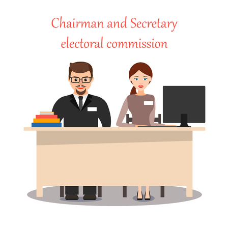 Chairman and Secretary of the precinct election Commission. The cartoon characters. Elections, voting. Vector flat illustration. Stock Illustratie
