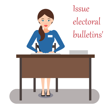 The work of the election Commission: girl enters the data of voters in the book and issues ballots for voting. Vector illustration.