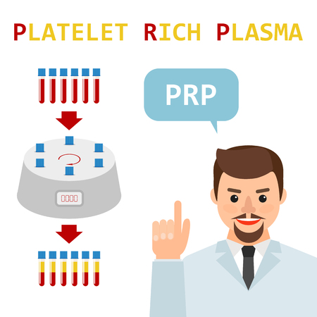 Platelet rich plasma. Male doctor explains the generation modern method of treatment of PRP. Test tube with blood and centrifuge vector flat illustration.