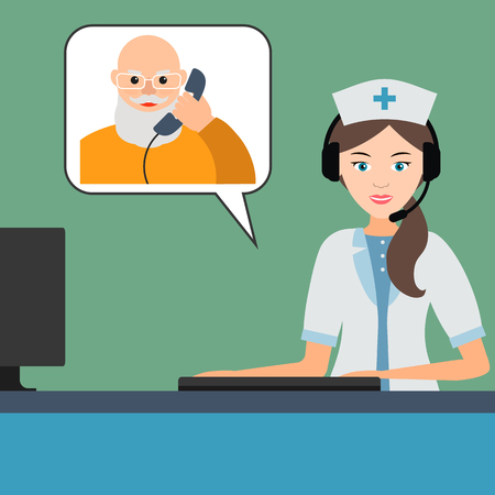 An elderly person talking with a doctor or nurse on the phone. Call a doctor at home concept. Vector flat illustration. Ilustracja