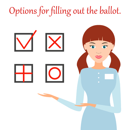 Girl, member of the election Commission, shows the correct options for filling out the ballot. The tick or cross. Vector flat illustration.