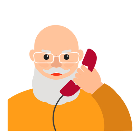 An elderly (old) man talking on the home phone. Portrait of bald grandfather with a beard and glasses. The cartoon character. Vector flat illustration.