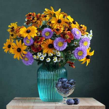 Autumn Still Life With A Bouquet Garden Flowers In A Vase And