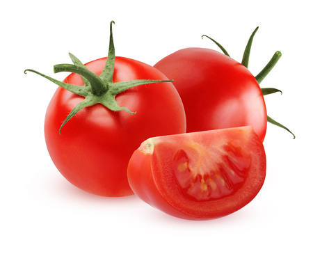 Two ripe tomatoes and slice isolated on white background