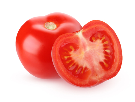 Red tomatoes isolated on white background with shadow. Whole vegetable and half.