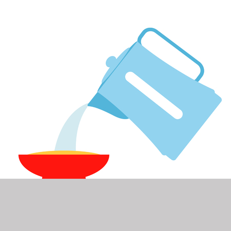 boiling water is poured from an electric kettle into a plate of food vector illustration.
