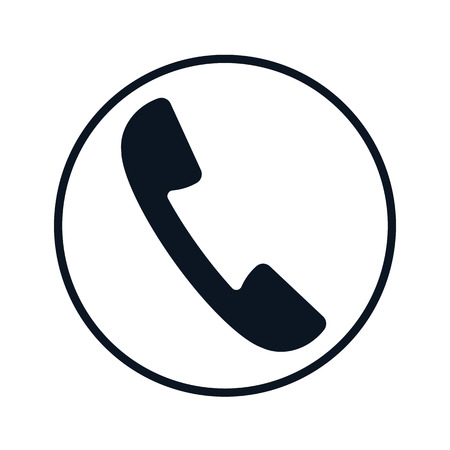 Phone Receiver, handset icon inside the circle. Vector black and white flat illustration. Иллюстрация
