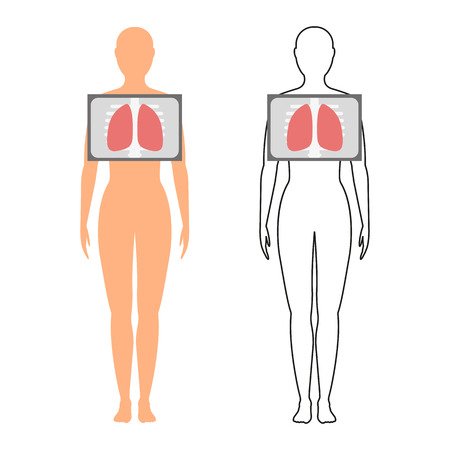 Female silhouette (contour) with the designation of the lungs. Fluorography. Chest x-ray. Vector illustration.