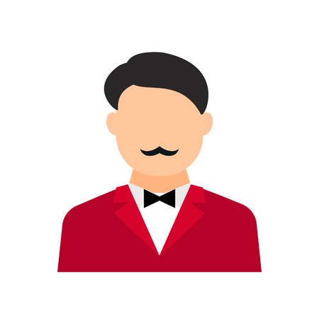 Male avatar without a face. man with a mustache, a jacket and a bow tie. Showman, presenter, entertainer. Vector flat illustration. Banque d'images - 100161757