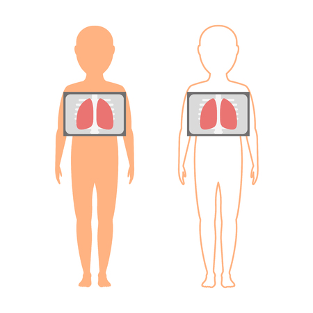 Kids silhouette (contour) with the designation of the lungs. Fluorography. Chest x-ray illustration