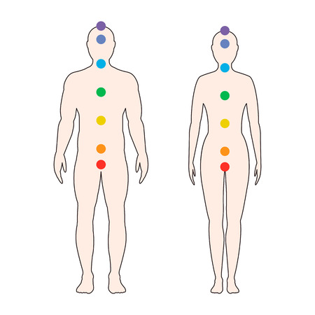 Chakras on the human body. Silhouette of a man and a woman with seven colored sacred points. Vector illustration. Stock Illustratie