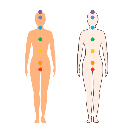 chakras on the female body. Silhouette of a woman with seven colored sacred dots. Vector illustration.