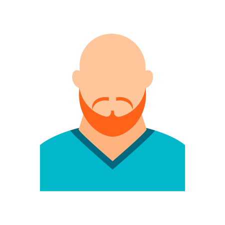 Male avatar without a face. Portrait of a young bald man with a beard and a mustache. Athlete, hipster.  Vector flat illustration.
