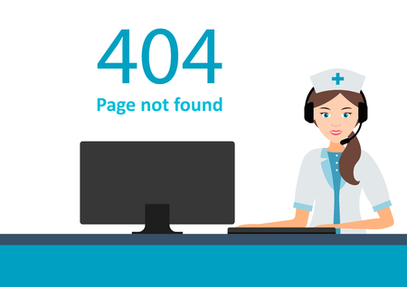 Page 404 with a nurse or doctor. Web oops error or not found page, carefree maintenance. vector illustration. Emergency computer help. Vektorové ilustrace