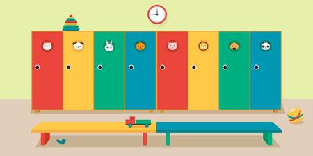 Interior locker room in kindergarten, vector flat illustration. Lockers, benches, childrens toys.
