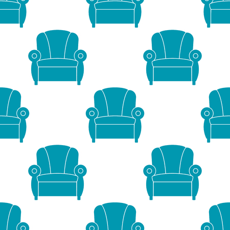 Icon recliner. Chair with armrests, seamless pattern. Vector illustration. 向量圖像