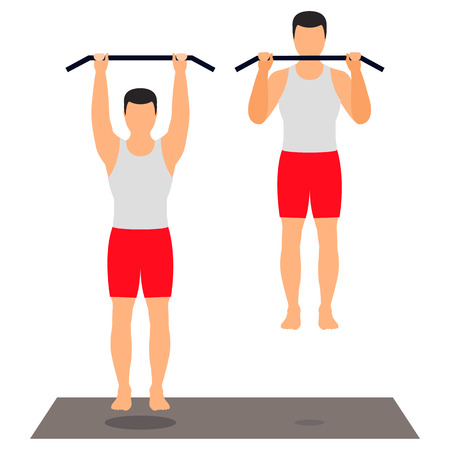 Pull-up on the crossbar. Male athlete in sportswear doing exercises. Sports, fitness. Vector. Illustration