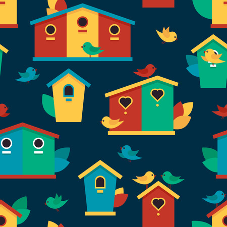 Seamless pattern with birdhouses and birds on dark background. Vector illustration. Cute children's backdrop.