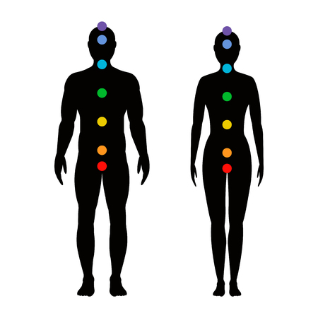 chakras on the body. Silhouettes of men and women with seven colored sacred points. Vector illustration.