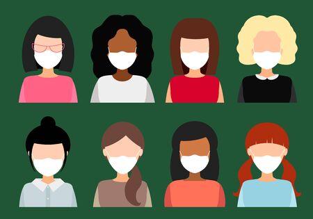 filles et femmes dans des masques médicaux, illustration vectorielle à plat. collection d'avatars féminins.
