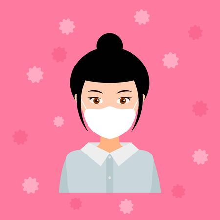 cute girl in a medical mask to protect the respiratory system from viruses. vector illustration. Vetores