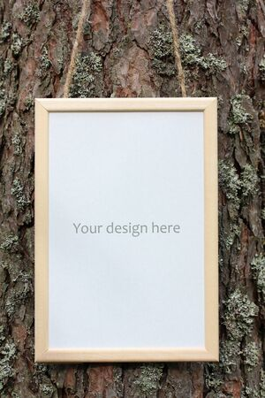 mockup, scene creator of a wooden rectangular frame. space for mounting your object or text.