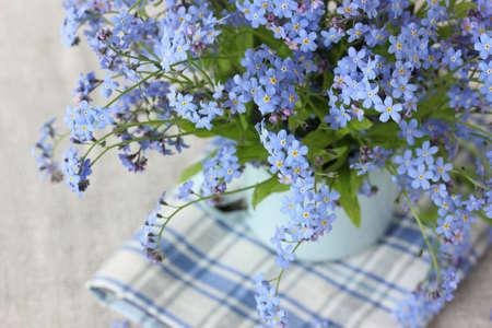bouquet of blue forget-me-nots, top view. selective focus. flowers.