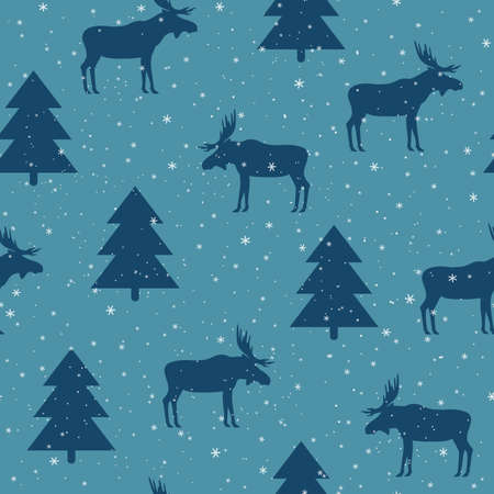 winter seamless pattern with elk and spruce. vector illustration. silhouette of a moose with horns and snow on a blue background. Illustration
