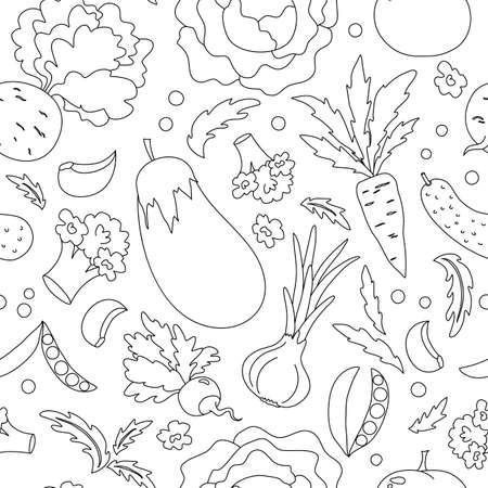 collection of hand-drawn vegetables, vector illustration. black outlines on a white background for a coloring book.