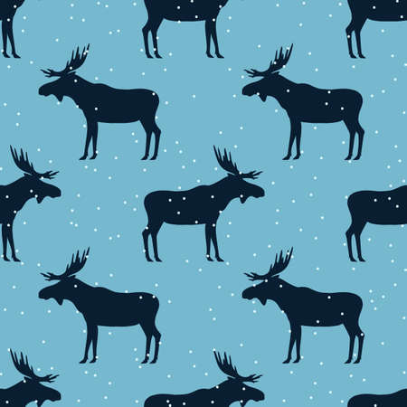 winter seamless pattern with moose. vector illustration. silhouette of a elk with horns and snow on a blue background.