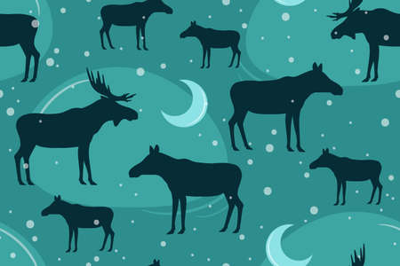 seamless pattern. elk, moose, male and female. vector illustration. black silhouette on a white background.