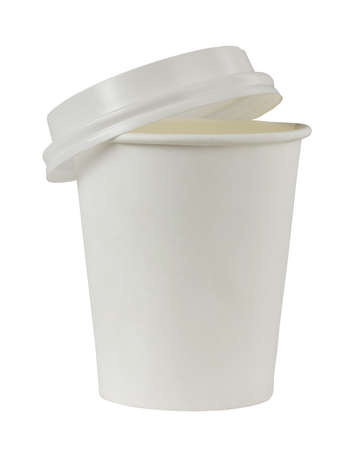 white paper cup with plastic lid isolated on white background  . mockup, scene creator.
