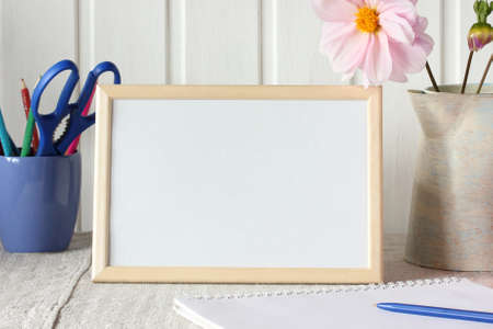 school mockup, scene creator. rectangular empty frame for mounting your object on the table.