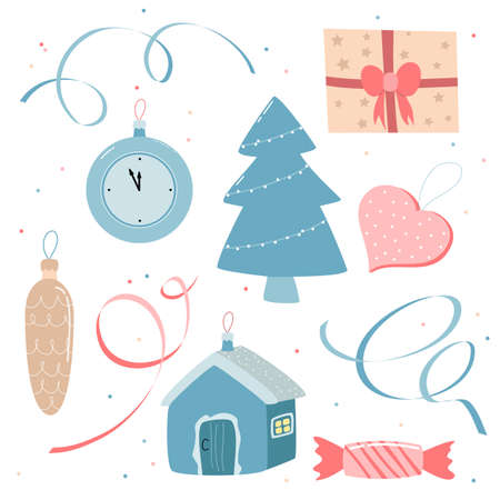 Collection of Christmas decorations isolated on a white background. vector illustration.