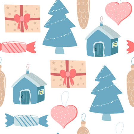seamless pattern with Christmas decorations on a white background. vector illustration. Illustration